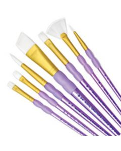 White Taklon Soft Grip 7 Brush Set