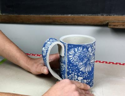 Forming a Handled Cup with an Underglaze Printed Slab Part 2