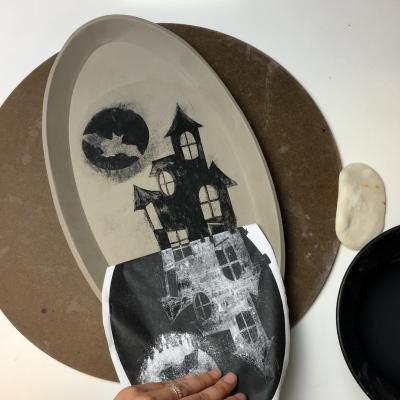 How to Create an Underglaze Transfer using a Photocopy , Our Halloween Project